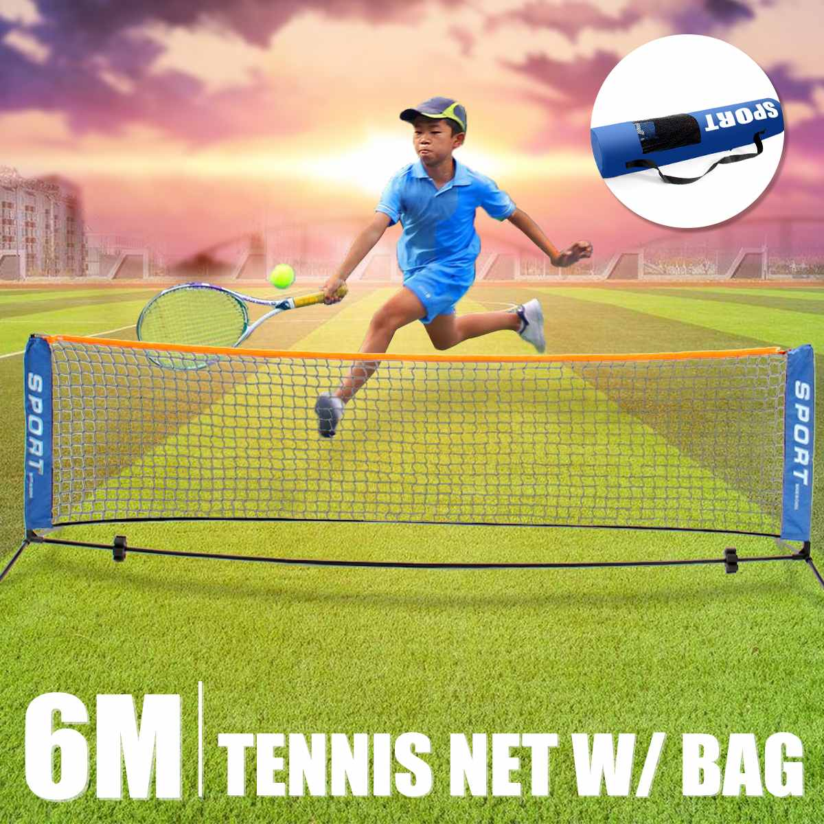 נייד טניס נטו 3/6 מטרים זמין חיצוני מקורה ספורט מתקפל מיני טניס נטו לילדים צינור פלדה + ברזל יצוק