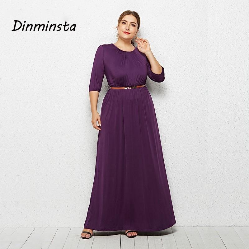 458c68c02c17 Detail Feedback Questions about Dinminsta 2019 Spring Plus Size Ladies  Dresses Elegant Long Frocks For Women Half Sleeve Loose Maxi Dress Female  Casual Wear ...