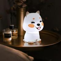 Cute Cartoon Night Light Sleep Accompanying Puppy Dog Silicone Lamp Warm And Cold Light Interchangeable Fun Table Lamp