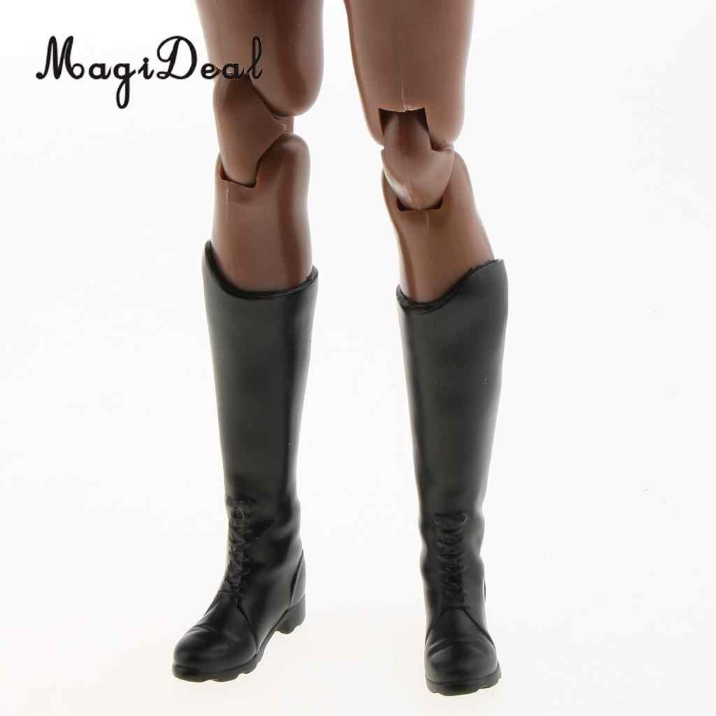 1 para gumy 1/6 skala kobiet czarne długie buty buty dla 12 Cal gorące zabawki Phicen figurka lalki Model Accs