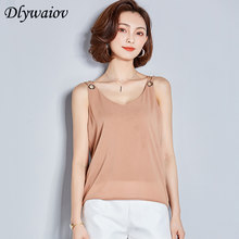 V-hals Tank Top 2018 Vrouwen Tees Chiffon Blouses Sexy Backless Hollow Losse Zomer Comfortabele Schouderbanden Tops Mouwloos(China)