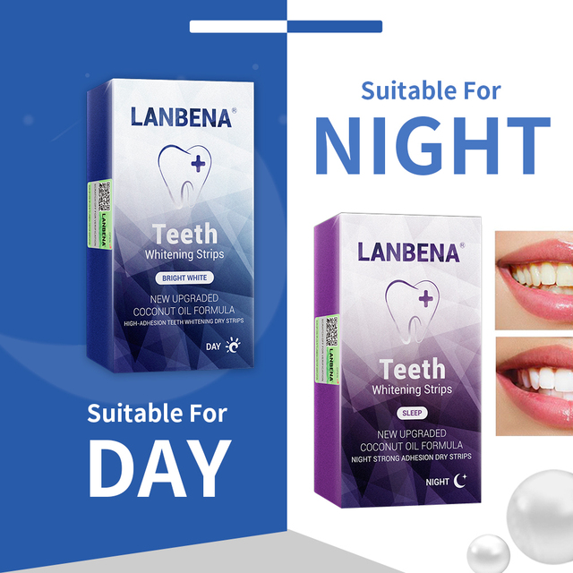Lanbena Teeth Whitening Strips Daily Use+ Night Oral Hygiene Teeth Veneers White Strips Removes Plaque Stains 12 Pairs Oral Care