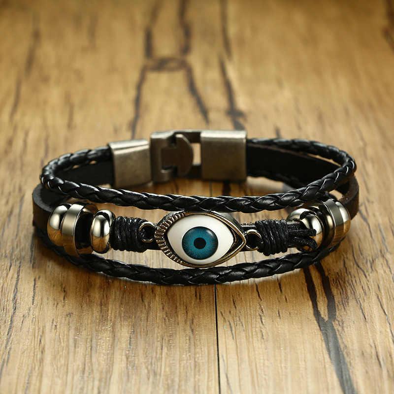W stylu Vintage męskie czarny Handmade Braid bransoletka ze skóry ze złem niebieskie oko bransoletka dla mężczyzn Wristband szczęście biżuteria męska 20 cm