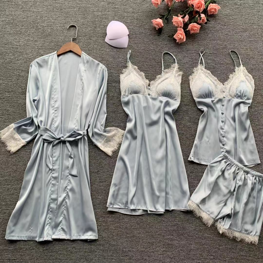 QWEEK 2019 Sexy Lace Silk Pyjamas Women Satin Pajamas Set 4 Pieces Sets Women Sleepwear Pijama Mulher with Chest Pads Home Wear