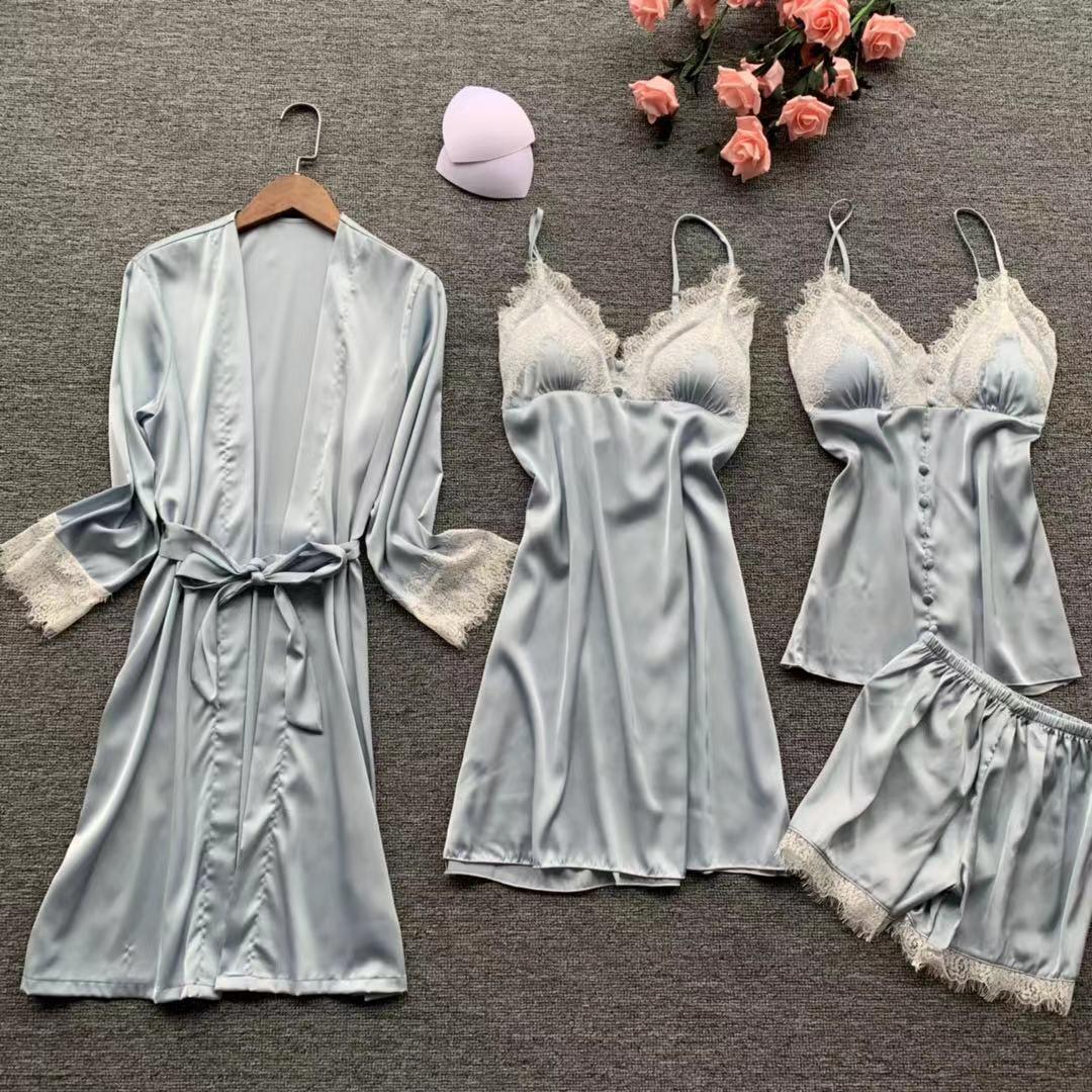QWEEK 2019 Sexy Lace Silk Pyjamas Women Satin   Pajamas     Set   4 Pieces   Sets   Women Sleepwear Pijama Mulher with Chest Pads Home Wear