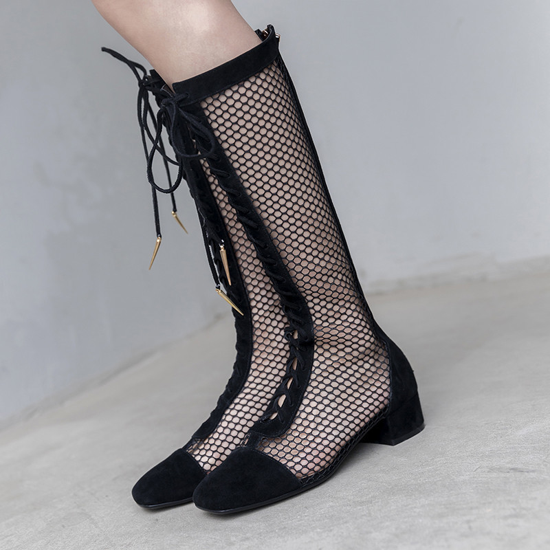Sexy Black Mesh Leather Knee High Boots Fashion Cut Out Shoes woman Lace Up High Heels summer boots Gladiator Shoes WomenSexy Black Mesh Leather Knee High Boots Fashion Cut Out Shoes woman Lace Up High Heels summer boots Gladiator Shoes Women