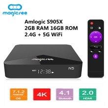 MAGICSEE N5 Android ТВ коробка OS Amlogic S905X Android 7.1.2 2 Гб Оперативная память 16 Гб Встроенная память ТВ Box 2,4G 5G Wi-Fi Поддержка 4 K H.265 Декодер каналов кабельного телевидения