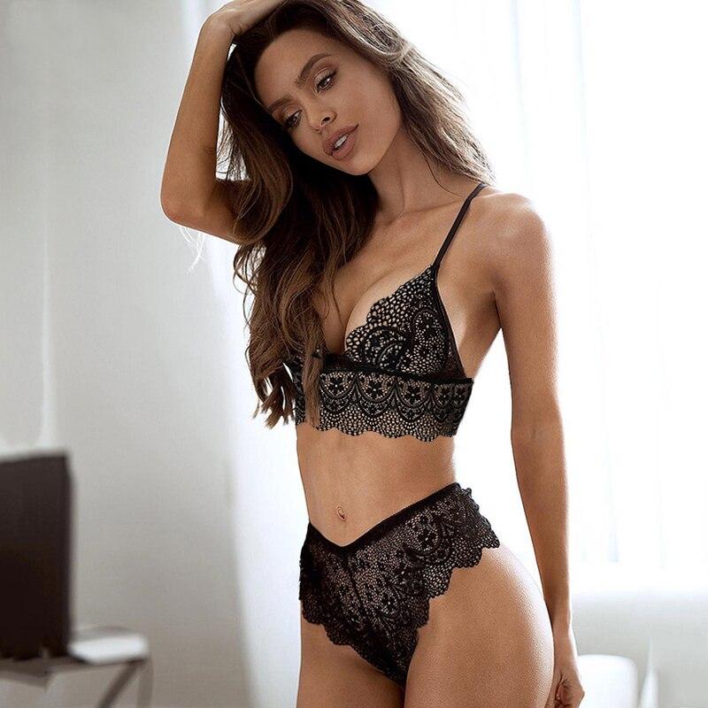 CWXANS new lace sexy   bra     set   push up seamless embroidery bralette erotic lingerie 2019 plus size transparent women underwear   set