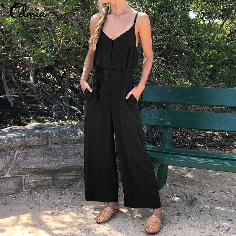Celmia 2019 Summer Women Retro Long Jumpsuits Casual Sexy Sleeveless Buttons Strap Rompers Belted Loose Wide Leg Overalls S-5XL