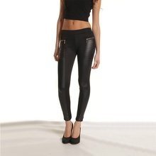 Women Fashion Sexy PU Leather Boots Pants Skinny Patchwork Zipper Leggings Black Women Leggings in Spring Summer Autumn(China)