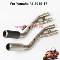 Motorcycle Exhaust For YAMAHA YZF R1 Exhaust Mid Pipe Link Pipe Motorbike Connect Middle Pipe YZF R1 2015 2017 + Exhaust Muffler