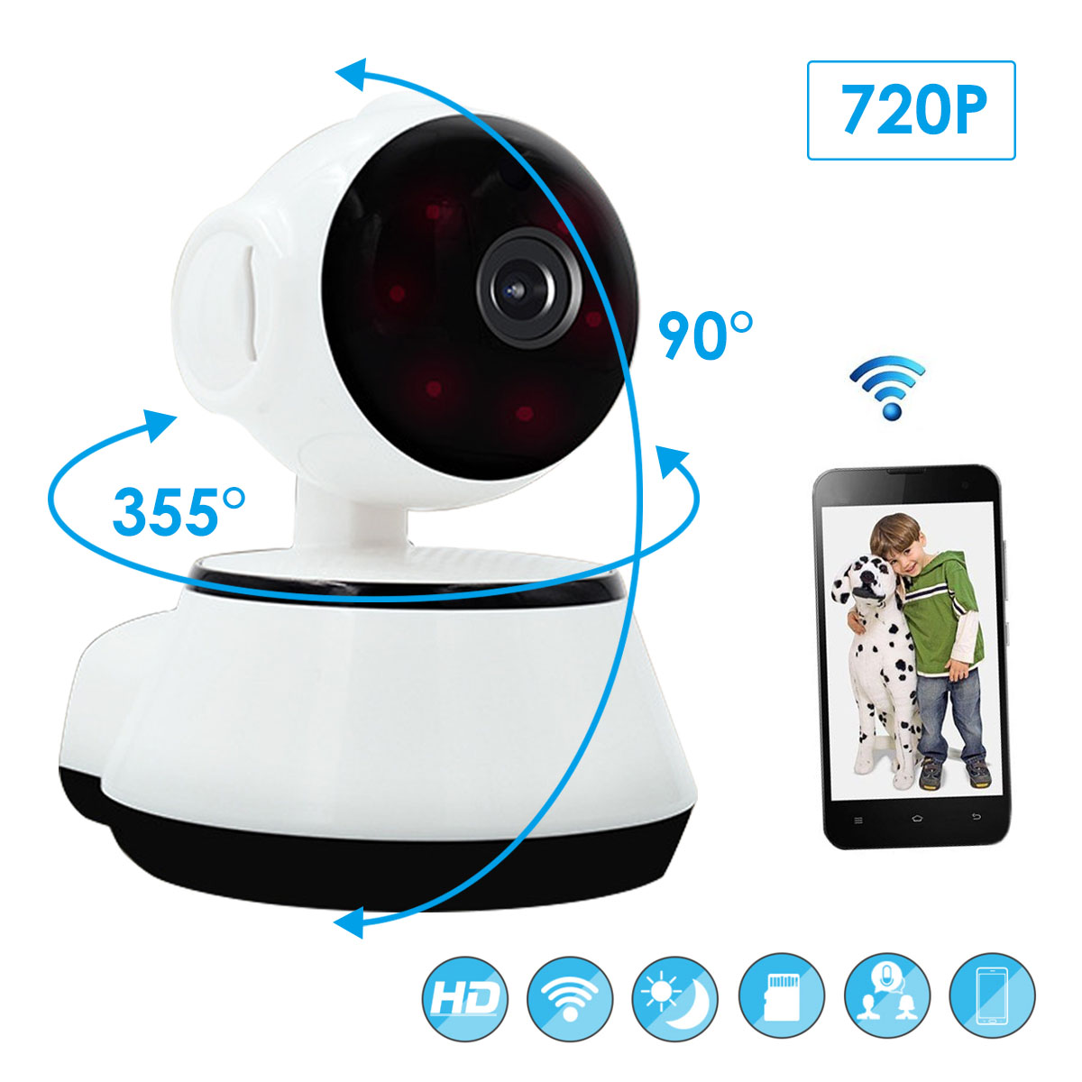 SOONHUA 720P Home Security IP Camera V380 Wireless Body Camera WiFi Audio Record Surveillance Night Vision Baby Monitor CamSOONHUA 720P Home Security IP Camera V380 Wireless Body Camera WiFi Audio Record Surveillance Night Vision Baby Monitor Cam