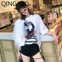 QING MO Women Mesh Patchwork T Shirt Beads Decorate White T Shirt Character Printing T Shirt O Neck Short Sleeve Top ZQY090