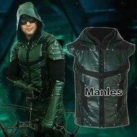 Green Arrow Oliver Queen Cosplay Costume Green Arrow Season 5 Superhero Clothing Male Halloween Leather Costume Adult Men Jacket