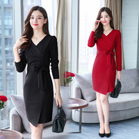 3XL Office Lady Dress Women 2019 New Spring Dresses Full Sleeve V neck Women Bodycon Dress Plus Size Black Working Dress Party