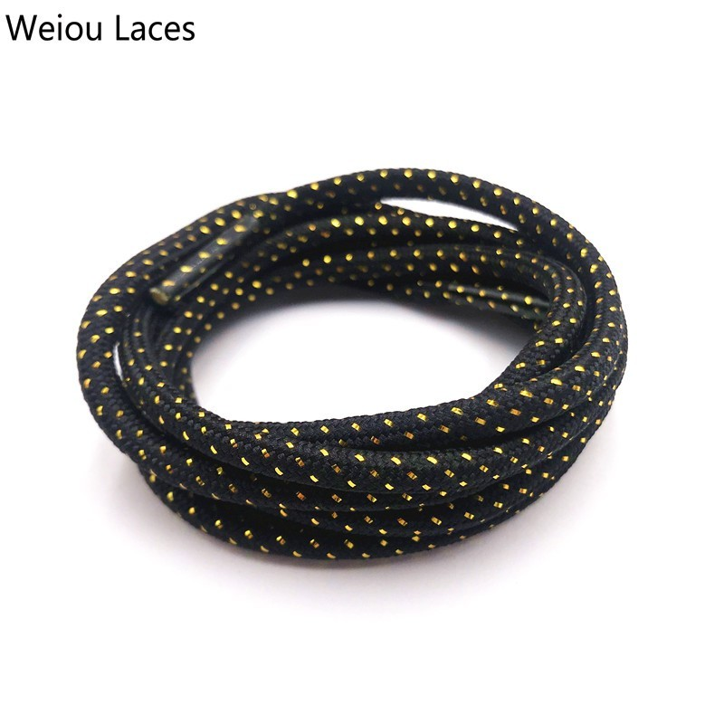 Weiou 4.5mm Cool Glitter Lace Metallic Round Cross Grain Sparkle Bootlaces Shiny White Black Shoelaces For Athletic Sports Shoes