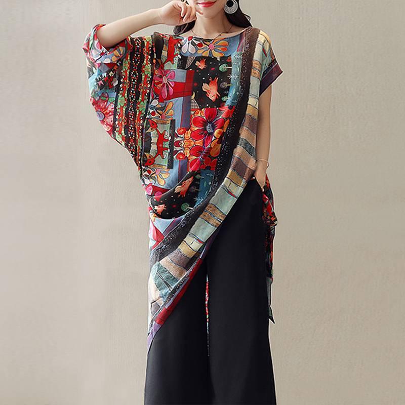 a3bcdd41d9e Этническая для женщин с цветочным принтом необычная блузка богемный плюс  размеры Туника летний топ стильный короткий рукав