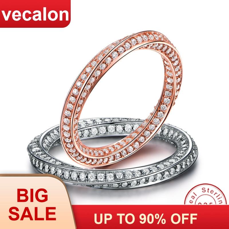 Vecalon Handmade Genuine Soild 925 Sterling Silver Promise ring Wire drawing Engagement wedding Band rings for women jewelryVecalon Handmade Genuine Soild 925 Sterling Silver Promise ring Wire drawing Engagement wedding Band rings for women jewelry