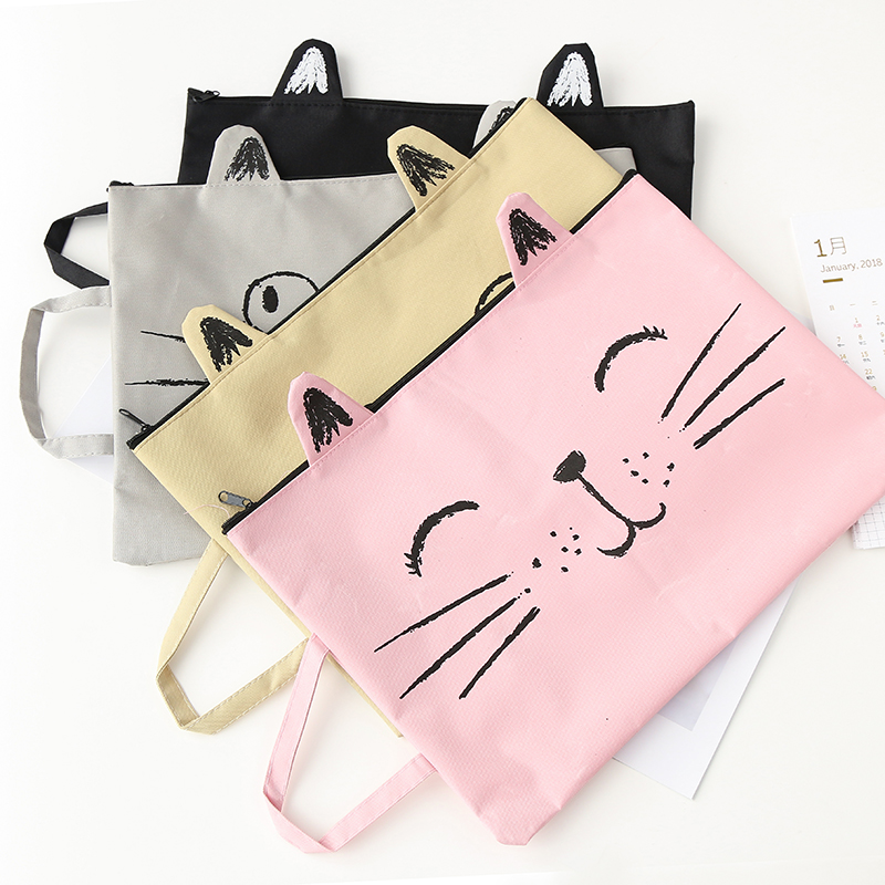 1pc A4 Canvas Cat Bag Fabric File Folder Document Bag Notebook Storage Organizer Bag Office School Supplies