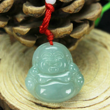 Beautiful hand-carved Burmese natural Green jade Buddha pendant Laughing lucky Women Free Shipping