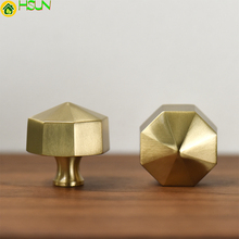 Gold Hexagon Cabinet Handle Modern Furniture Knobs Solid Brass Cupboard Closet Drawer Pulls