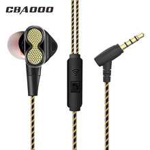 CBAOOO Wired Earphone Dual Driver Stereo 3.5mm In-Ear Cable Earphones With Microphone Computer Headset For Mobile Phone Mp3 Mp4 stereo mp3 in ear earphones red 3 5mm plug 110cm cable