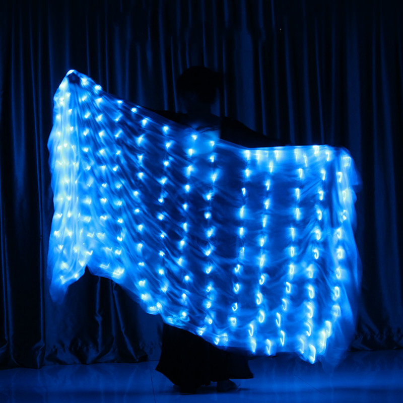 Ruoru Belly Dance LED Silk Veil Light Up Belly Dance Stage Performance Props 100% Silk Belly Dancing Accessories White Rainbow