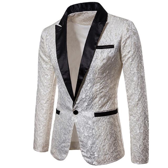 2018 Luxury Men Suit Tuxedo Blazer Slim Fit Suit Unique Mens Male Blazers Dress Jackets Wedding Party Shows Costume