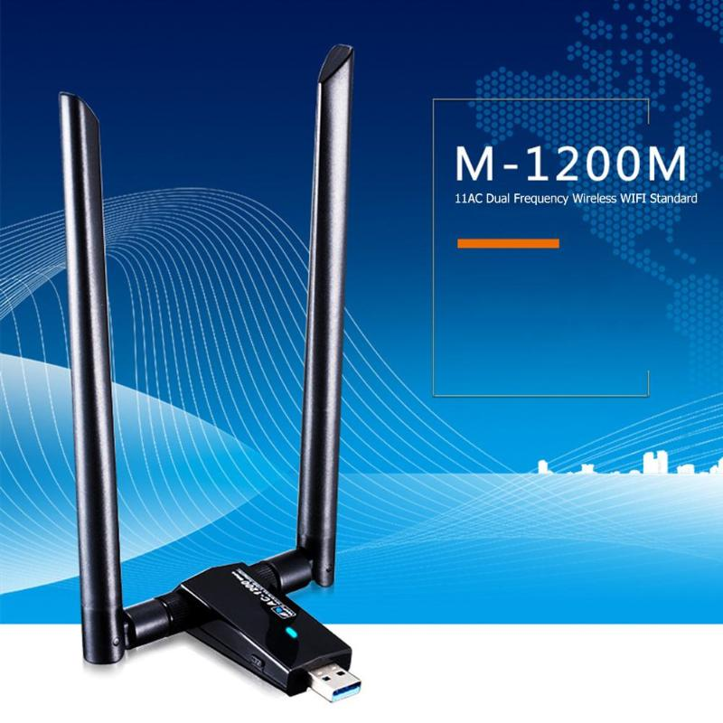 M 1200M USB 3.0 WiFi Adapter 1200Mbps 2.4GHz/5.8GHz Wireless Network Card for Windows XP Vista/7/8/10  Linx2.6X  Mac OS X|Network Cards| |  - title=