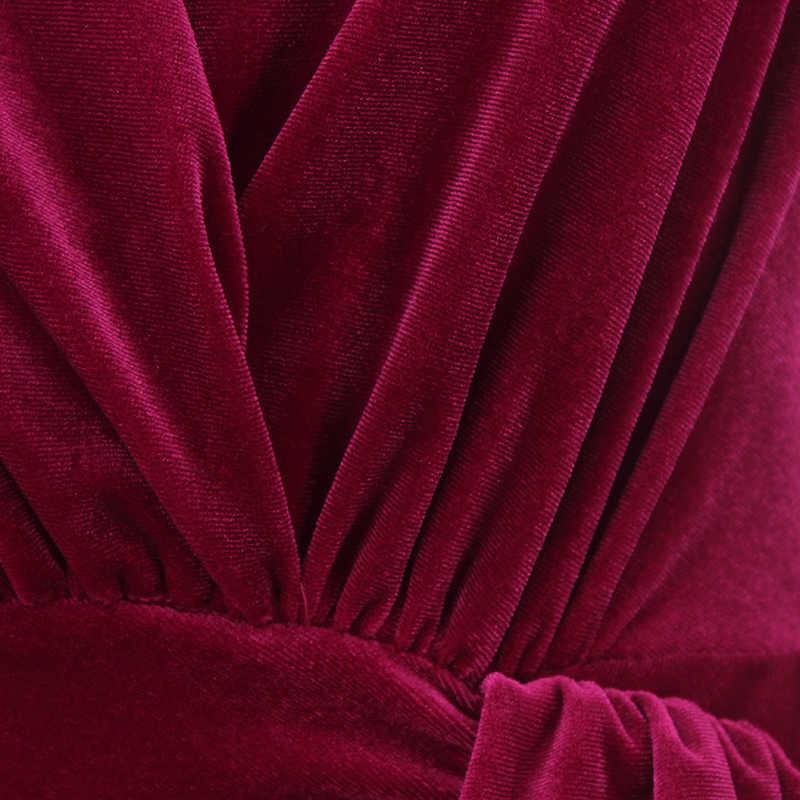 NATTEMAID, осенне-зимнее облегающее платье с запахом, женское сексуальное мини-платье с глубоким v-образным вырезом, элегантное красное бархатное вечернее платье vestidos