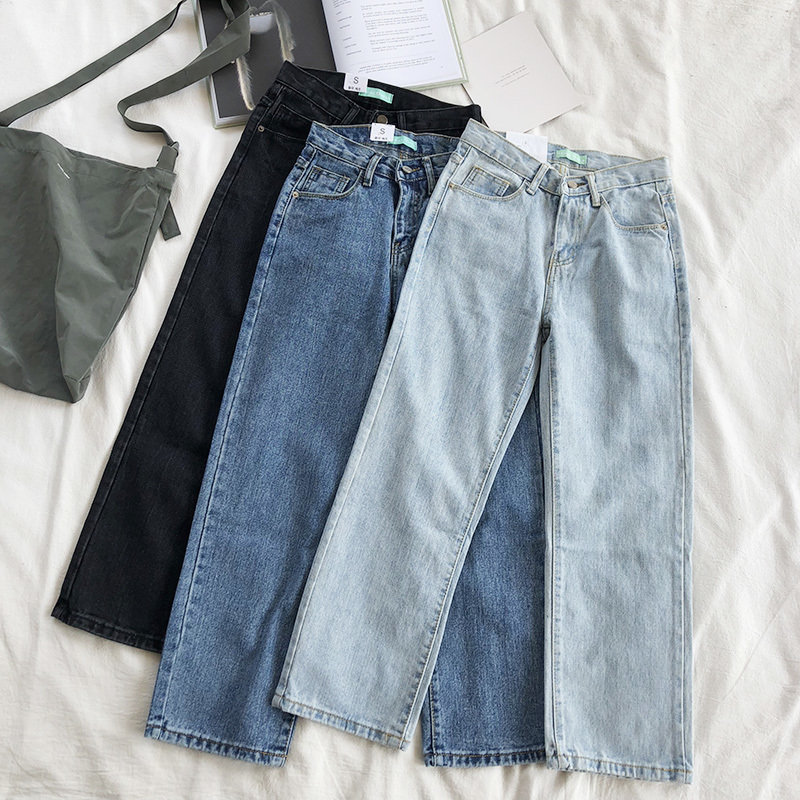 Mooirue Spring Summer Jeans Femme Harajuku Smooth High Waist Straight Thin Denim Pants Women Basic Blue Trouser