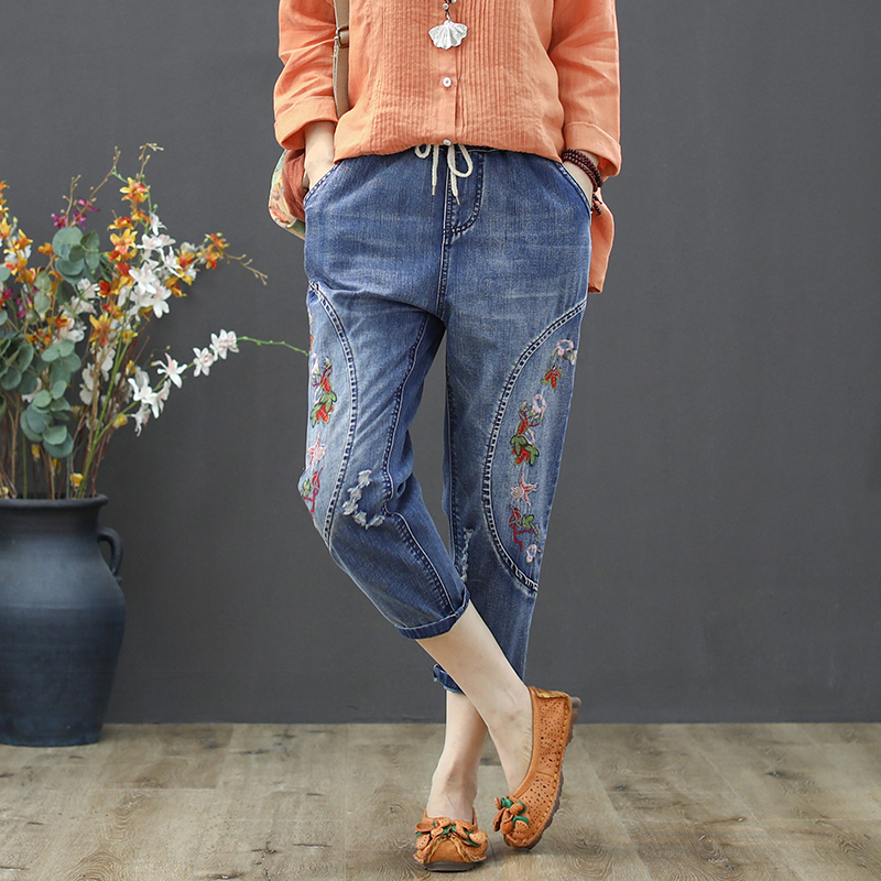 Spring Summer High Waist Jeans Woman Ripped Jeans Women Vintage Floral Embroidered Harem Denim Pant Cotton Pantalon Femme in Jeans from Women 39 s Clothing