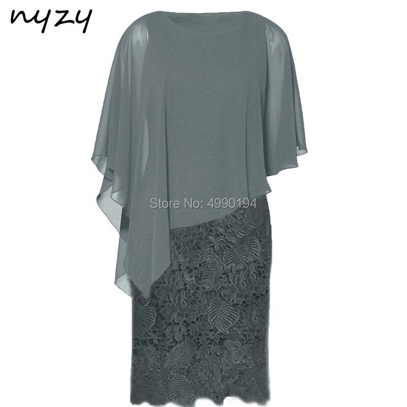 NYZY C51C élégant gaine gris mère de la mariée dentelle Cape manches courtes robe formelle marraine fête de mariage vestido madrinha