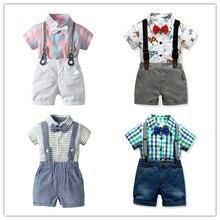 Verano Casual ropa de niños Caballero conjuntos de niños camiseta +  Pantalones cortos arco 4 piezas ropa de niños trajes de bebé. 1275db1cfb69