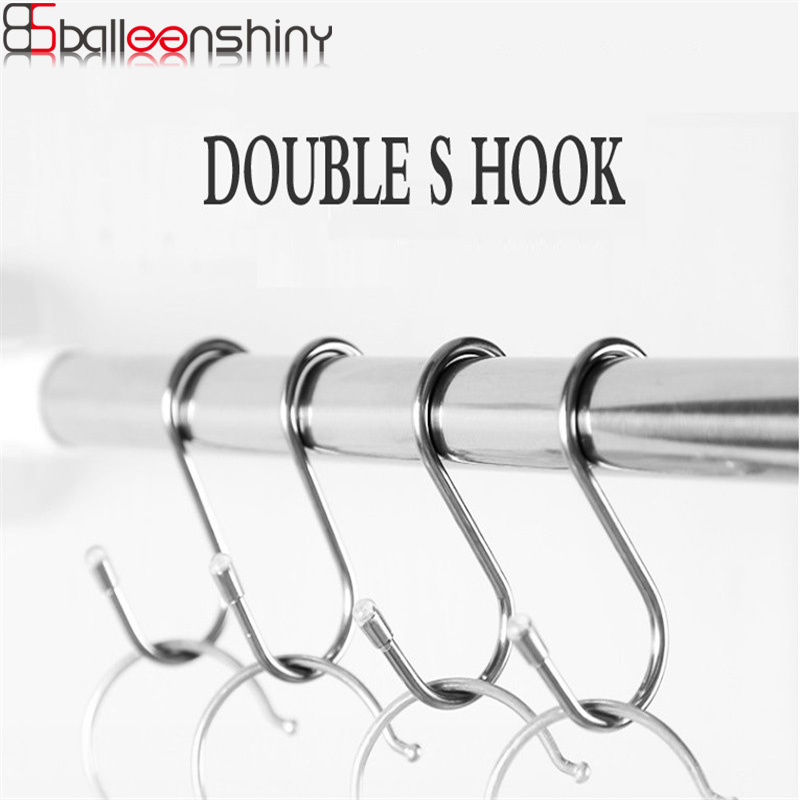 Stainless Steel Double S Shape Hook Storage Hooks Clothes Hanger Hanging Organizer Kitchen Bathroom Accessories