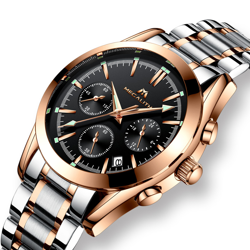 MEGALITH Mens Watch Waterproof Stainless Steel Man Clock Chronograph Sports Business Quartz Wrist Watches Men Relogio MasculinoMEGALITH Mens Watch Waterproof Stainless Steel Man Clock Chronograph Sports Business Quartz Wrist Watches Men Relogio Masculino