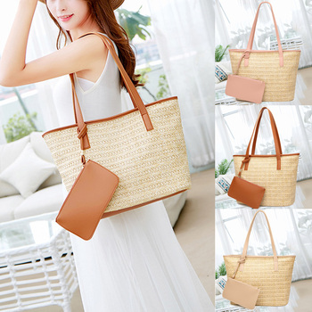 2019 Women Handbag Summer Beach Bag Rattan Woven Handmade Knitted Straw Large Capacity Totes  Women Shoulder Bag Bohemia New