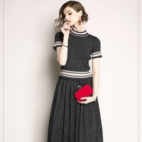 2019spring 2 Pieces Dress Set Women short Sleeve top Elegant vintage casual office wear Pleated midi skirt Clothing Suit