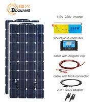 Boguang 100 Вт солнечные панели, ячейки Модуль 200 Вт DIY kit солнечной системы 110 V 220 V 500 Вт инвертор 12 В/24 В/20A контроллер MC4 Кабель адаптер