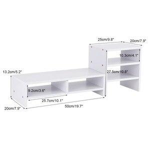 Image 5 - מחשב נייד צג Riser סטנד שולחני עץ אחסון ארגונית + 3 שכבה מדף כלי