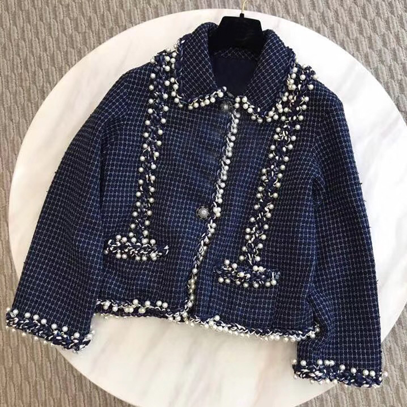 f95db7eced755a Manches Veste Manteau 2018 Pour Femmes Avec À Élégant Tweed Nouveau Longues  Mode Chaud Bouton FwaqIa