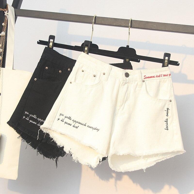 ICHOIX XL-5XL Plus Size Summer Shorts White Black Korean Big Size Women Shorts Hight Waist Denim Shorts Hot Short Trouser Jeans