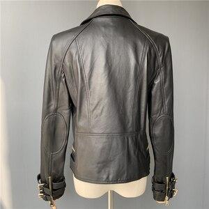 Image 4 - Prawdziwa skórzana kurtka kobiety moda klasyczna kurtka z zamkiem płaszcz z paskiem czarne kobiety panie prawdziwej skóry kurtki kobieta