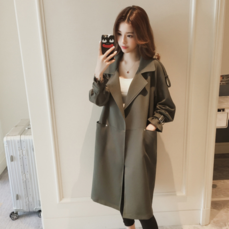 Women Trenchcoat Loose Long Windbreaker Army Green Trenchcoats Spring Autumn Coat Long Trench Coat Women Trench