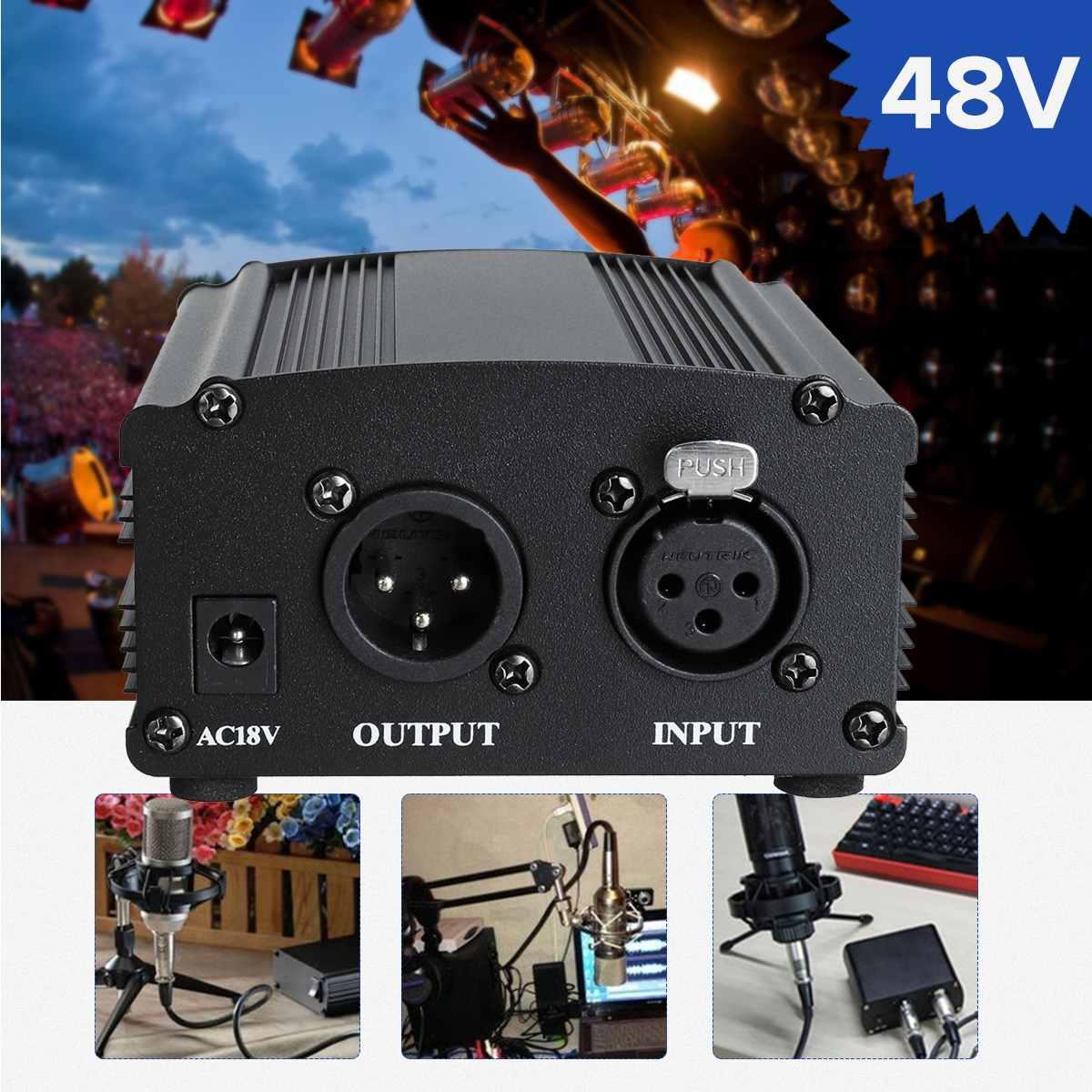 Microfone leory 48 v phantom power 1.5m cabo de alimentação de baixo nível de ruído para equipamento de gravação de microfone condensador de áudio