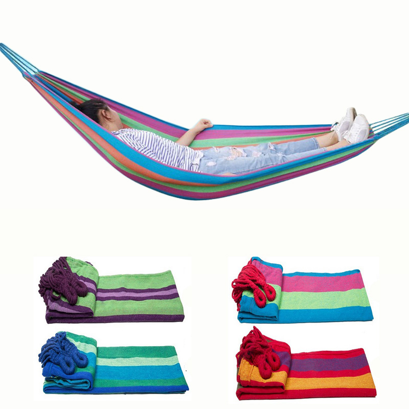 T  Camping Hammock Two-person Hanging Chair Canvas Swing Rocking Chair Dropship Outdoor Furniture Can With Hammock Straps