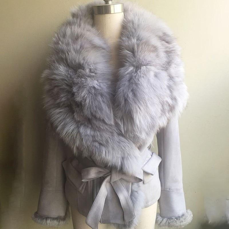 Taille 2018 light Mince Gray Réglable Daim Renard Coton Fourrure Manteau De Grand Femmes Nouveau Style Ac97902l Revers ewq Mode Court Streetwear Hiver Black 1xZqFW7d7