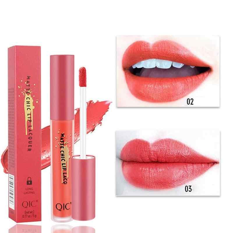 24 Hour Long Lasting Red Lip Lipstick Korean Brand 2018 QIC Lip Gloss Matte Glaze Nonstick Cup Lipstick Makeup Explosion 40