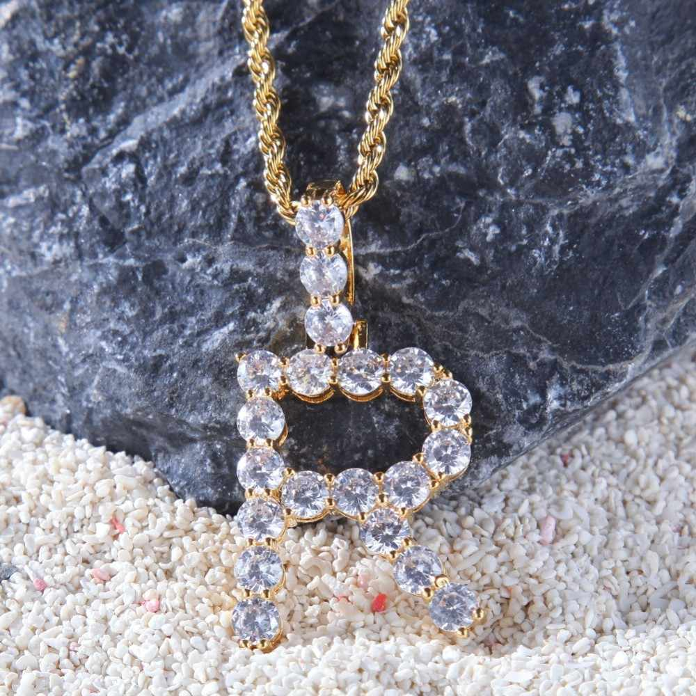 UWIN Tennis Intial Letters Custom Name Pendant Alphabet Jewelry Charm Cubic Zirconia Hip Hop Necklaces  Drop Shipping