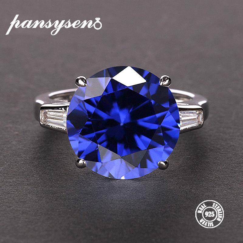 PANSYSEN Women's Natural Sapphire Rings 100% Real 925 Sterling Silver Jewelry Gemstone Ring 8 Colors Size 5-12 Engagement Gifts